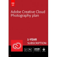 Photo editing: Adobe Photography Plan (Photoshop CC + Lightroom CC) | 1 User | 1year | 20GB cloudstorage