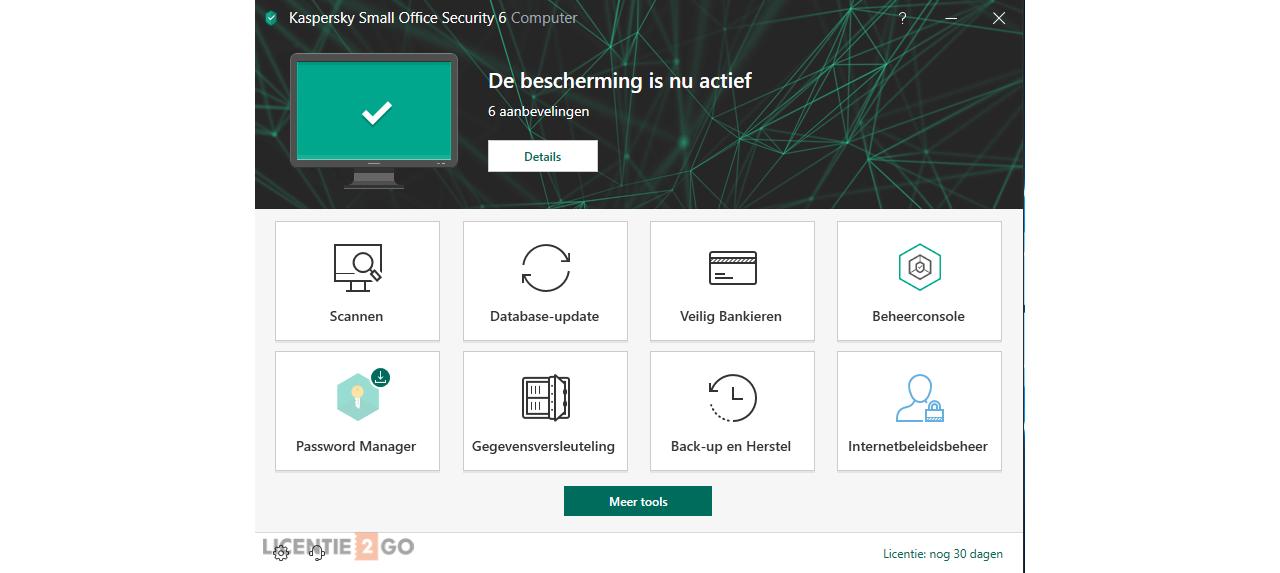 Kaspersky Small Office Security hoofdscherm