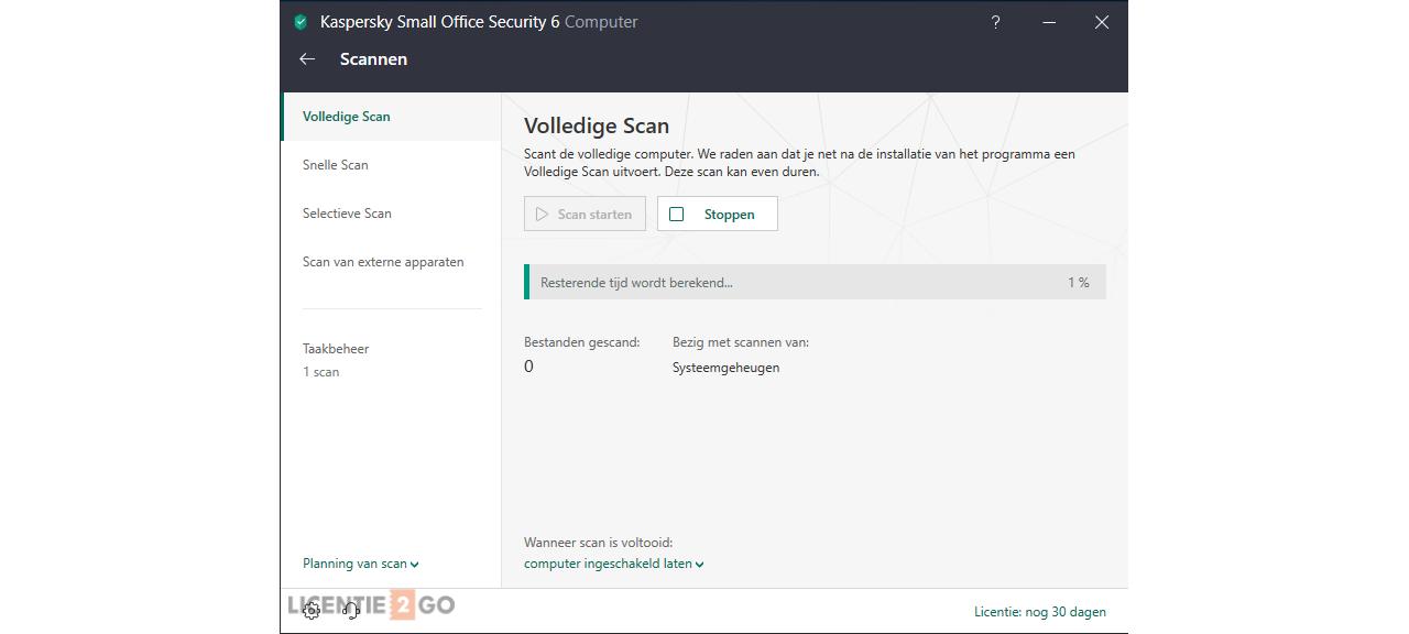 Kaspersky Small Office Security scannen