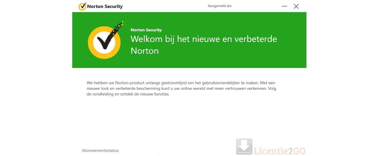 Welkomstscherm Norton Deluxe.