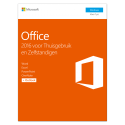 Microsoft Office 2016 Thuisgebruik & Zelfstandigen 1PC Windows